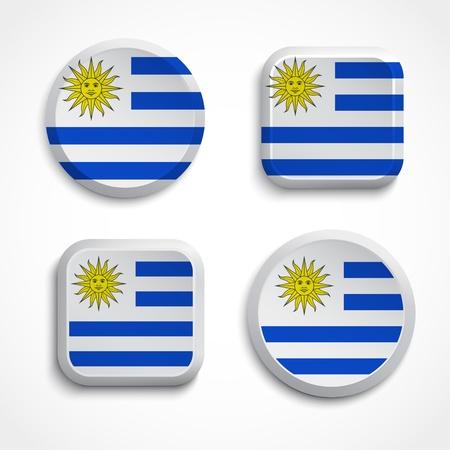 bandera de uruguay: Uruguay botones de bandera puesta en el fondo blanco