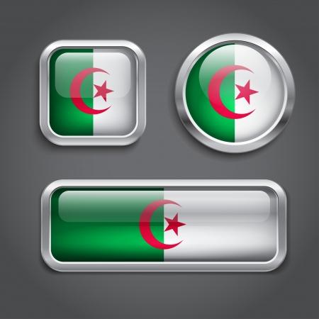 algeria: Set of Algeria flag glass buttons