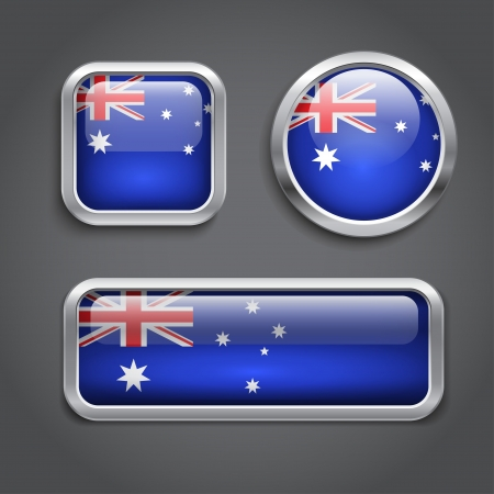 Set of Australia flag glass  buttons Vector