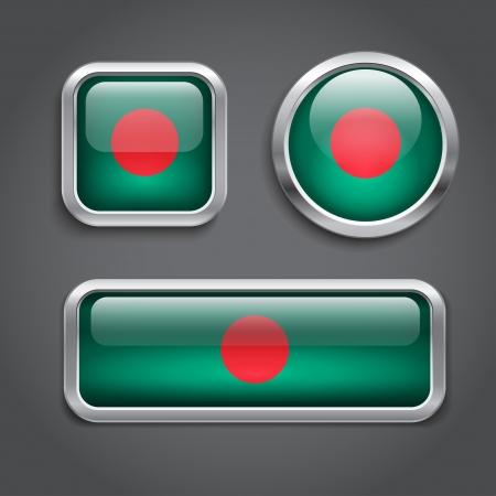 バングラデシュ国旗ガラス ボタンのセット  イラスト・ベクター素材