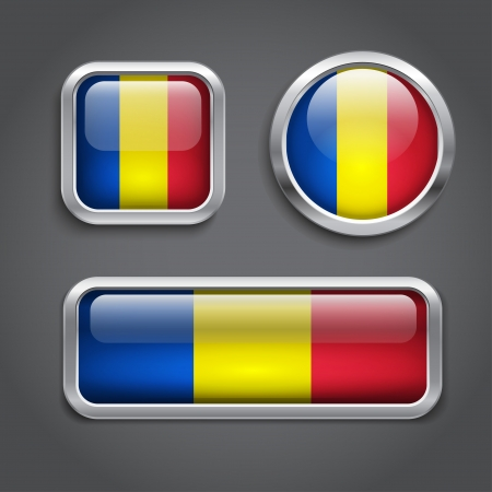 chad: Set of Chad flag glass buttons