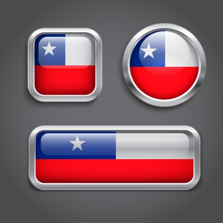 Set of Chile flag glass buttons Vector