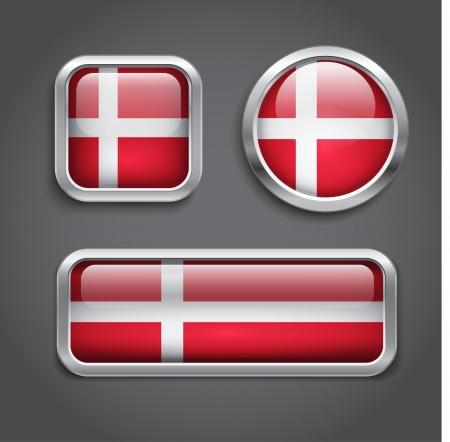 denmark flag: Set of Denmark  flag glass buttons Illustration