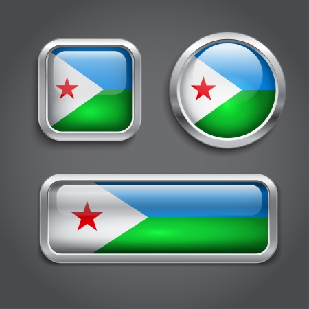 Set of Djibouti  flag glass buttons Vector