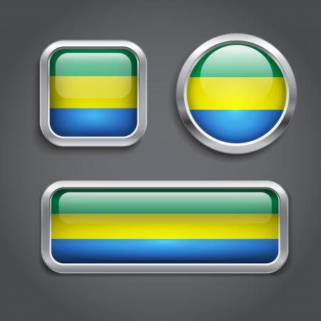 gabon: Set of Gabon  flag glass buttons