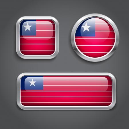 liberia: Set of Liberia  flag glass buttons
