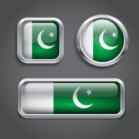 pakistan flag: Set of Pakistan  flag glass buttons Illustration