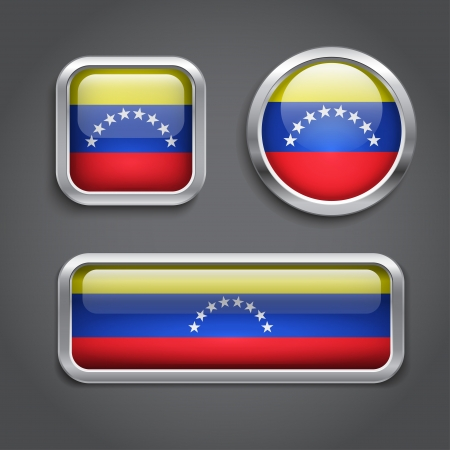 Set of Venezuela  flag glass buttons Vector