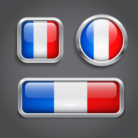 Set of France flag glass buttons Vector