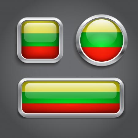 lithuania flag: Lithuania  flag glass buttons