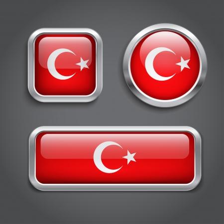 Set of Turkey flag glass buttons Vector