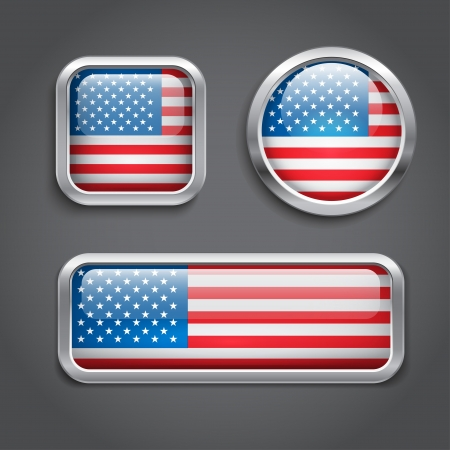 Set of USA flag glass buttons Vector