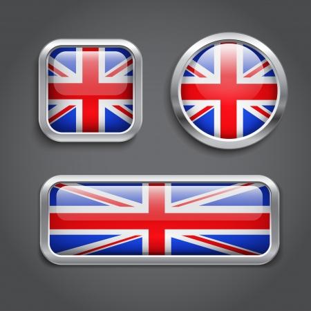 bandera inglesa: Conjunto de botones de la bandera de Reino Unido Vectores