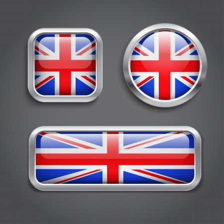 Set of United Kingdom Flag buttons Vector