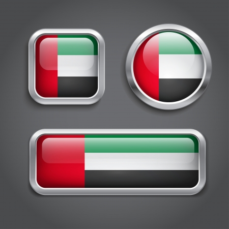 arab flags: Emirates flag glass buttons, vector illustration