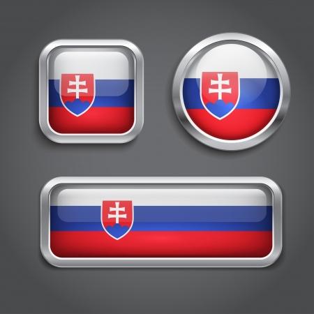 slovakian: Slovakia  flag glass buttons, vector illustration