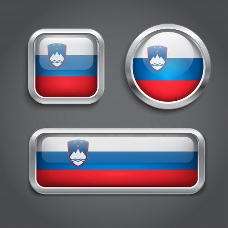 Slovenia flag glass buttons, vector illustration Illustration