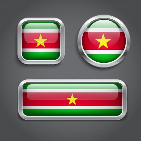 suriname: Vlag van Suriname glas knoppen, vector illustratie