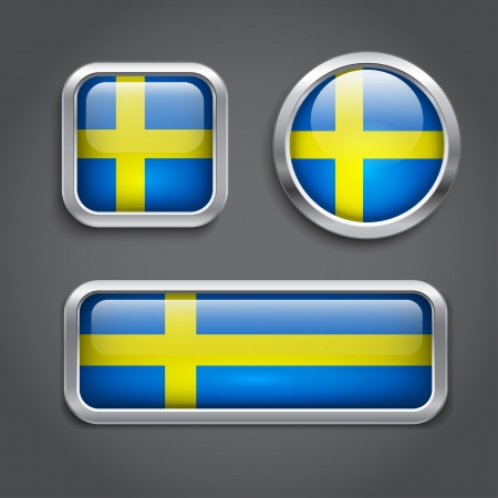 sweden flag: Sweden flag glass buttons, vector illustration