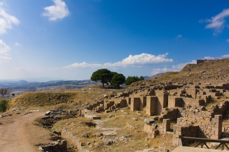 View of antique ruins of Pergamon, Turkey photo