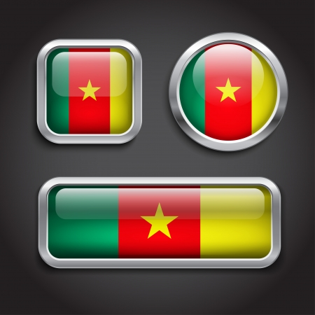 cameroon: Set of Cameroon flag glass buttons Illustration