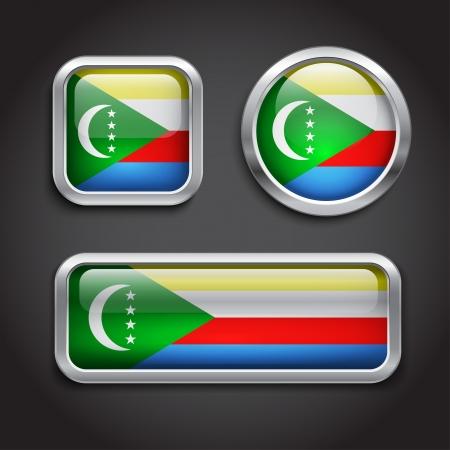 comoros: Set of Comoros  flag glass buttons