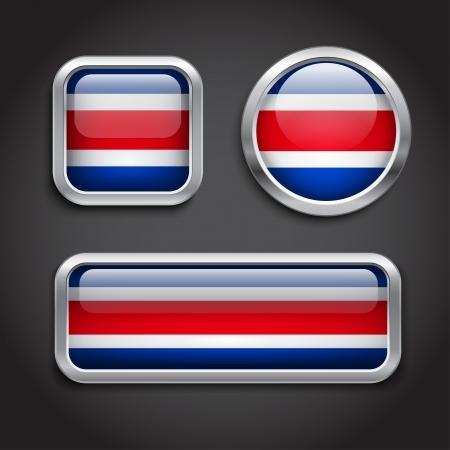 bandera de costa rica: Juego de Costa Rica botones de cristal del pabellón