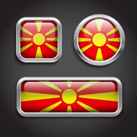 macedonia: Set of Macedonia  flag glass buttons
