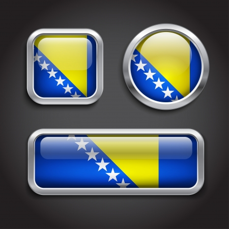 bosnia and hercegovina: Set of Bosnia Hercegovina  flag glass buttons