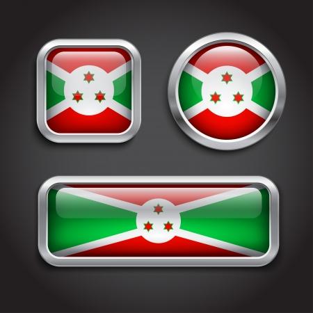 burundi: Set of Burundi  flag glass buttons