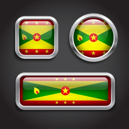 Set of Grenada  flag glass buttons Vector
