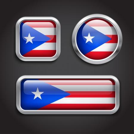 bandera de puerto rico: Conjunto de botones de cristal en Puerto Rico bandera