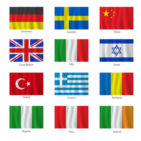romania flag: Set of flags with titles on the white background