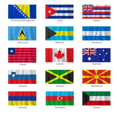 bandera honduras: Conjunto de indicadores con los títulos en el fondo blanco