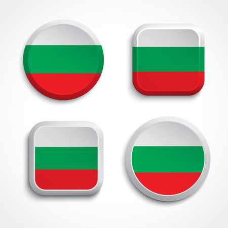Set of Bulgaria flag buttons Vector