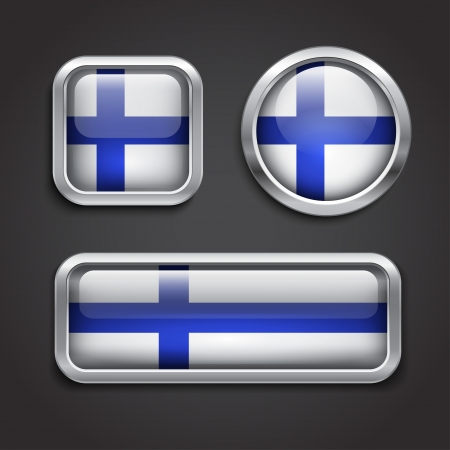 Set of Finland  flag glass buttons, vector illustration Vector