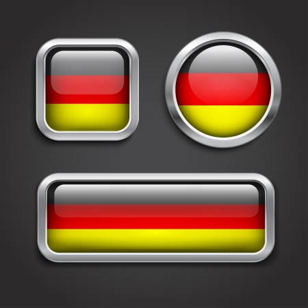 Set of Germany  flag glass buttons, vector illustration Vector