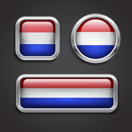 holanda bandera: Conjunto de botones de cristal Holland bandera, ilustraci�n vectorial Vectores