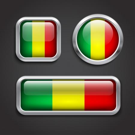 mali: Set of Mali  flag glass buttons, vector illustration