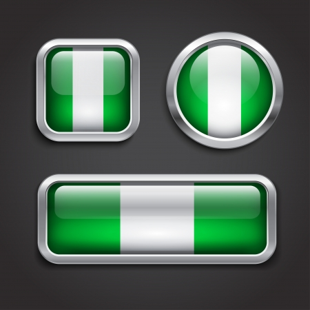 nigeria: Set of Nigeria  flag glass buttons, vector illustration