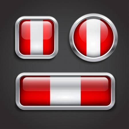 bandera de peru: Conjunto de bandera de Perú botones de cristal, ilustración vectorial