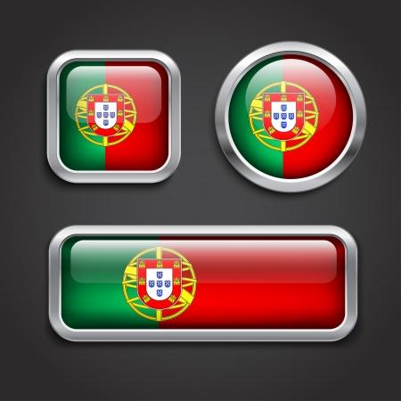 drapeau portugal: Ensemble de Portugal boutons de verre du pavillon, illustration vectorielle
