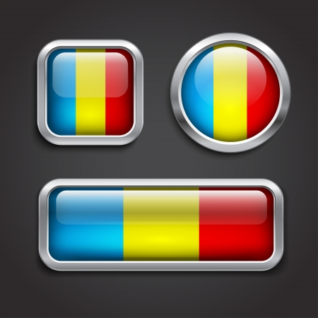 Set of Romania flag glass buttons, vector illustration Vector