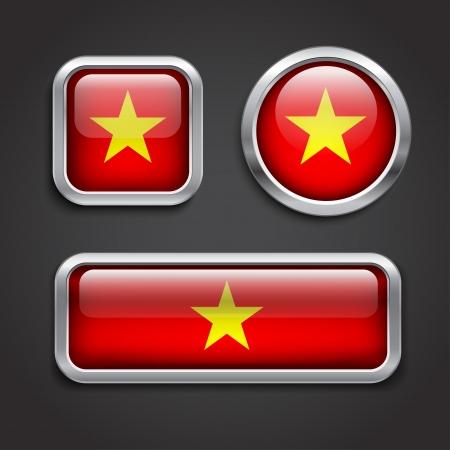 vietnam flag: Set of Vietnam  flag glass buttons, vector illustration