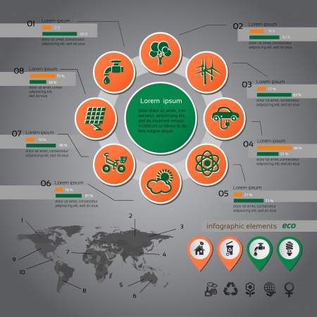 computer tech: Ecology infographic with map, web design, vector