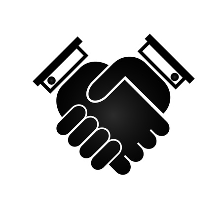 Business handshake icon, black silhouette on a white background, vector illustration