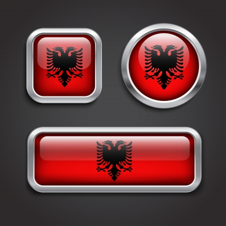 Set of Albania  flag glass buttons, vector illustration Vector