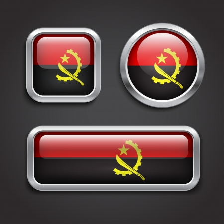 Set of Angola  flag glass buttons, vector illustration Vector