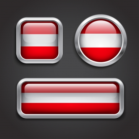 austrian flag: Set of Austria flag glass buttons, vector illustration