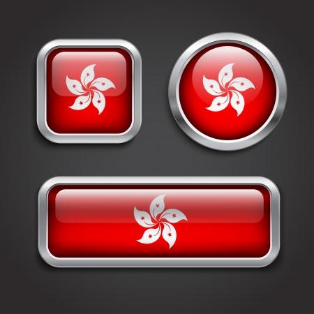 Set of Hong Kong  flag glass buttons, vector illustration Vector